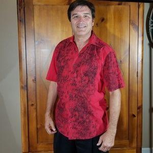 Versace Red & Black Button Front Shortsleeve Shirt